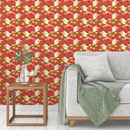 Papier peint Ibis coloris Corail